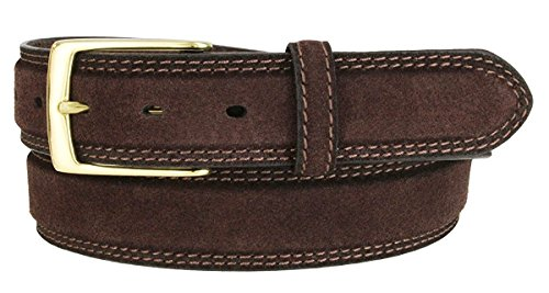 Hagora Men 35 mm Wide Genuine Full Grain Leather 2 Stitches Brass Buckle Belt,Brown (Reversible Suede Belt)
