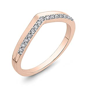 Diamond Fashion Ring in 10K Rose Gold (1/6 cttw, Colour GH, Clarity I2-I3) (Size-10.5)