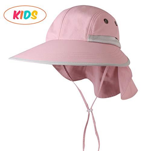 camptrace Safari Kids Sun Hat Wide Brim Bucket Cap Toddler Fishing Hats Boy Girl Pink ()