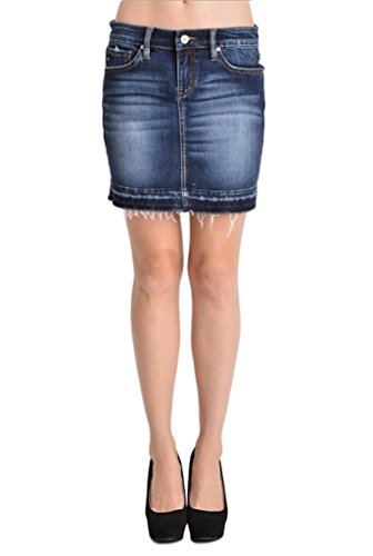 Dark Denim Mini Skirt (Kan Can Women's Dark Wash Stretch Distressed Denim Mini Skirt (13,)
