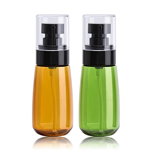 (Empty Lotion Bottles, Refillable Lotion Dispenser TSA Approved Makeup Travel Bottle 2oz Plastic Cosmetic Containers for Creams Liquid Soaps - Amber Green)
