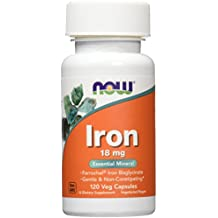 NOW Iron 18 mg,120 Veg Capsules