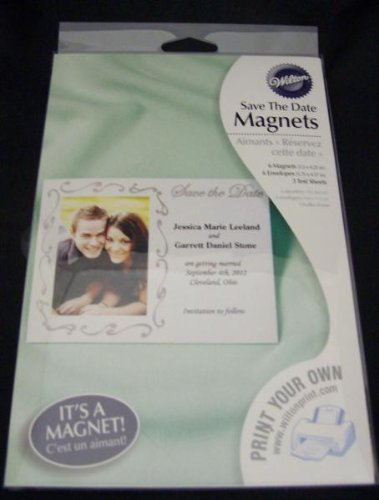 Wilton 6 Wedding Save the Date Magnets Silver You Print -