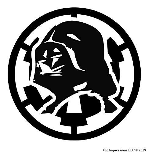 Blk Darth Vader Over Empire Insignia Decal Vinyl Sticker Graphics for Cars Trucks SUV Vans Walls Windows Laptop Black 5.5 Inch URI089-B