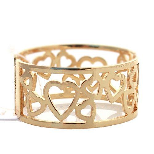 Designer Inspired Gold Heart Hinge Bangle Bracelet