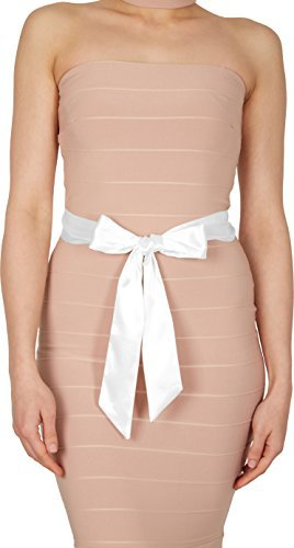 BlackButterfly Bridal Wedding Bridesmaid Satin Sash Belt (White, 15 CM X 250 ()