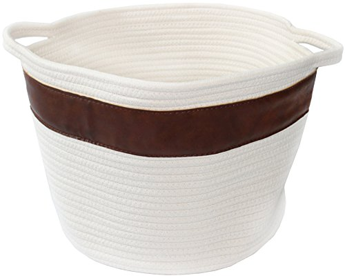 Rope Storage Bin Basket with Leather Trim (Laundry, White, Medium Sized, Nautical) | by Urban Legacy -  - living-room-decor, living-room, baskets-storage - 41UNzEER2vL -