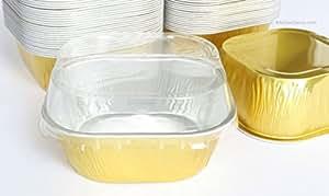 """KitchenDance Disposable Aluminum 3"""" x 3"""" Square 4 ounce Dessert Pans W/ Lids - #ALU6P (GOLD, 500)"""