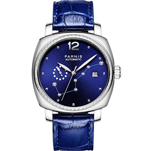 - Parnis 39mm Royal Blue Dial Golden Case Diamond Big Dipper Sapphire Glass 21 Jewels Miyota 8215 Automatic Movement Women's Wrist Watch (Model-3)