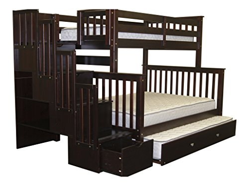 Bedz King Stairway Bunk Bed Twin over Full with 4 Drawers in the Steps and a Twin Trundle, Cappuccino