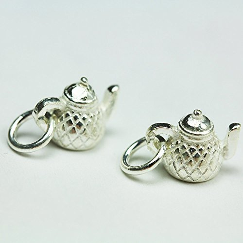 2pcs 925 Sterling Silver Jewellery findings Charm Beads ,Teapot charm,8.510.5mm - FDSSB0442