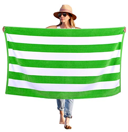 Peach B&C - Beach Towel Cabana Terry Velour Soft Turkish Cotton - Extra Absorbent - Quick Fast Drying - Sand Free - Perfect for Beach Bath Travel Pool Sports Spa Swimming (1, Green)