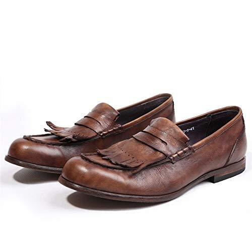 Para On De Loafers Zhrui Marrón Transpirable Zapatos Marrón Cuero 41 Genuino color Penny Suela Slip Tamaño Eu Duradero Blanda Hombre AqIwwvt5