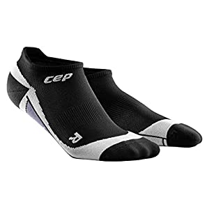 CEP Men's Dynamic+ No-Show Socks with Compression and Light, Breathable Fit for Cross-Training, Running, Recovery, Tiathletes, and all Endurance and Team Sports, Black/Grey, 3