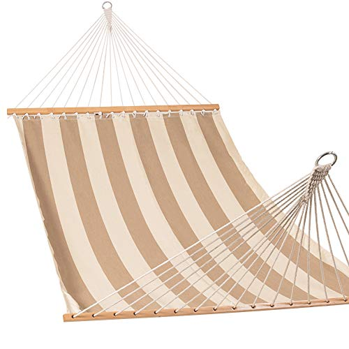 Lazy Daze Hammocks Sunbrella Fabric Hammocks with Spread Bar and Handcrafted Polyester Rope for Two Person, All Weather and Fade Resistant, 450 lbs Capacity, Regency Sand (Quilted Large Fabric Hammock)