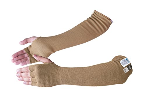 Kevlar Cut/Scratch/Heat Resistant Designer Arm Sleeves with Finger Openings - Desert Tan 18 inches by Kezzled by Kezzled