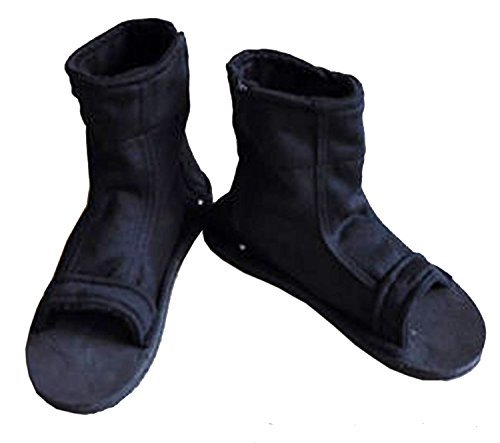(AV SUPPLY Naruto Uchiha Sasuke Haruno Sakura Ninja Cosplay Black Shoes Sandals Boots Kakashi Shoes Cosplay Costume Accessories Black Size 43)