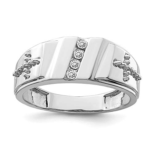 925 Sterling Silver Diamond Cross Religious Mens Band Ring Size 10.00 Man Fine Jewelry Gift For Dad Mens For Him