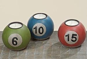 3 Stk Teelichthalter Billardkugel rot grün blau SET Windlicht Kugel...