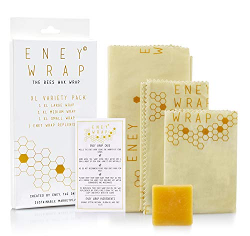 Premium Organic ENEY Beeswax Wraps | Eco-Friendly Reusable Food Wrap | Plastic Alternative | Extra Large Set 1 Large, 1 Medium, 1 Small, 1 Wooden Button Tie and ENEY Wax | Save The World Or Destroy It