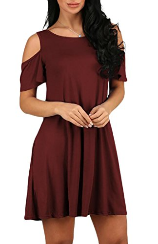 Dress Loose Soild Color Jaycargogo Shoulder Cold 7 Women's Fit Pocket Xxfqf8tv