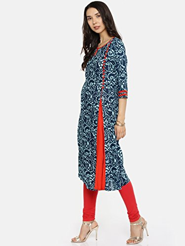 Women Dress Indigo for Casual Women's Printed Women Kurti Tunic Multicoloured Kurta Long Aaboli HqO0wITF