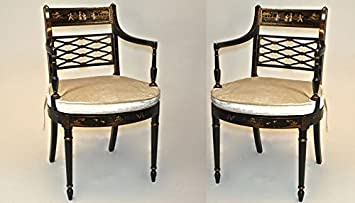 High Quality Pair Nice Black Lacquer Chinoiserie Style Arm Chairs W/ Cane Seats JI 33460