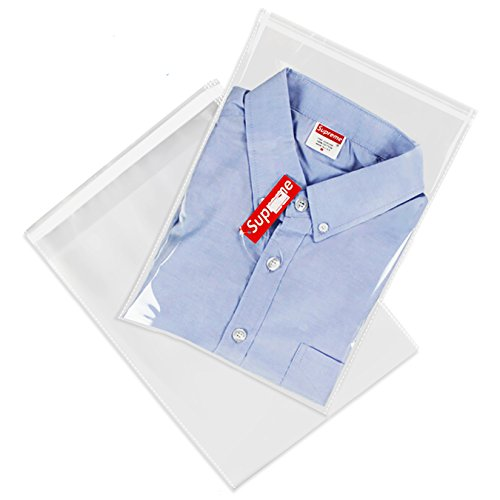 "200 Count - 12"" X 15"" Self Seal Clear Cello Cellophane Resealable Plastic Poly Bags - Perfect for Packaging Clothing, Shirts (More Sizes Available)"