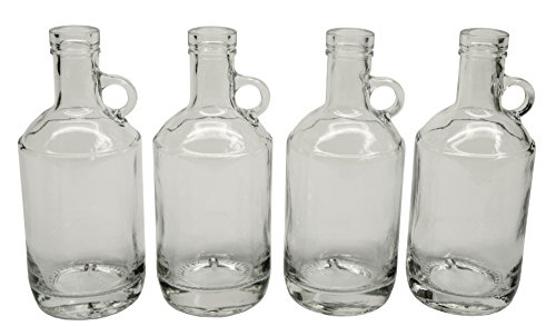 North Mountain Supply Glass Moonshine Jug 375ml for Wine/Spirits Bar Top Finish - Case of 4 (375ml) ()