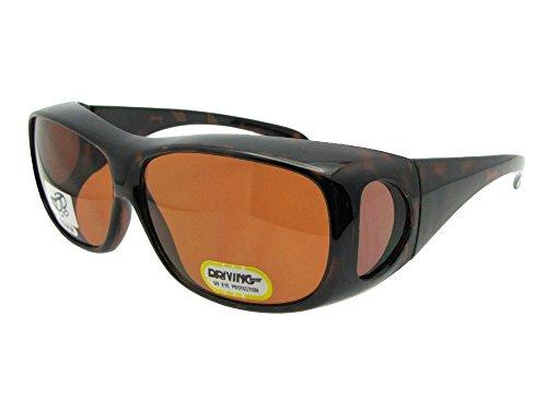 Medium Non Polarized Sunglasses Over Glasses With Sunglass Rage Pouch (Tortoise Frame, Non Polarized Amber - F1 Sunglasses
