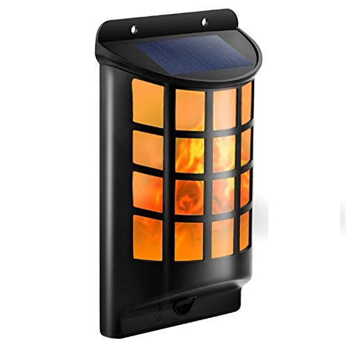 SODIAL Solar Lights Waterproof Flickering Flames Wall Lights Outdoor Dark Sensor Auto On/Off Solar Powered Wall Mounted Night Lights Lattice Design for Garden Pathway Door Patio by SODIAL