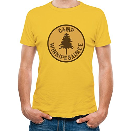 TeeStars Men's - Camp Winnipesaukee T-Shirt Medium Yellow