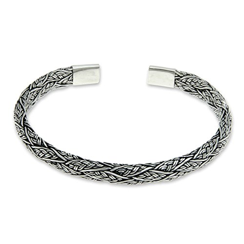 NOVICA Men's Braided .925 Sterling Silver Cuff Bracelet, - Silver Sterling Braided Bracelets
