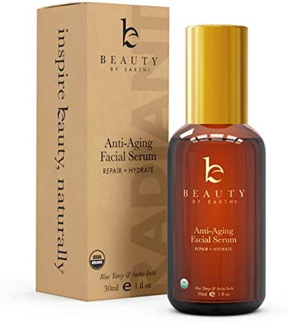 Organic Face Serum - Blue Tansy Serum for Face, Anti Aging Serum, Eye Serum & Facial Serum, Skin Brightening Serum, Anti Wrinkle Serum, Skin Care Face Serums to Moisturize, Hydrate & Repair