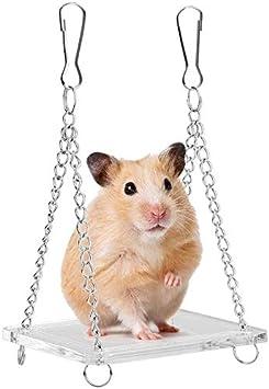 Columpio de hámster para Mascotas, Acrílico Mini Puente Colgante Equilibrio Ejercicio Colgando Tablero Pequeño Animal Hamaca Jaula Cama Accesorios Regalo