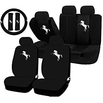 11 Piece Auto Interior Gift Set White Mustang Pony A Of 2 Black Seat Cover