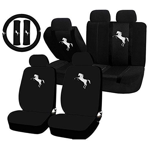 11 Piece Auto Interior Gift Set White Mustang Pony A Set of 2 Black Seat Cover (Mustang Pony Interior)