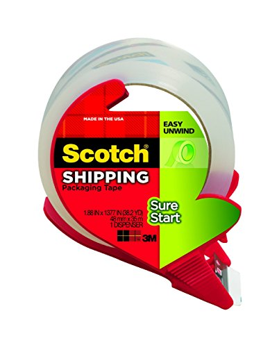 Scotch Sure Start Shipping Packaging Tape WXK1L3 , 1.88 x 38.2 Inches, 4 Rolls and 2 Dispensers