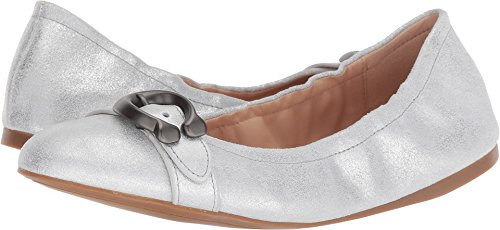 Coach Women's Stanton Ballet with Signature Buckle Silver Glitter Dusted Suede 8 M ()