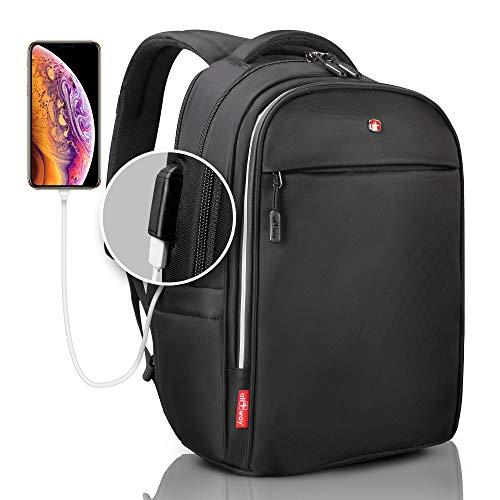 Laptop Backpack for men black - Travel Backpack USB RFID Blocking - SWISS Design 15/17