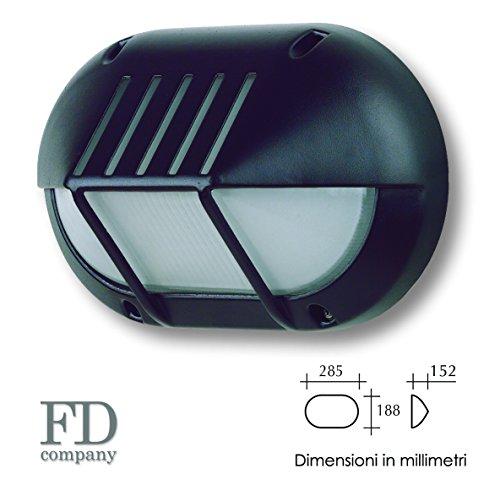 Plafoniera ovale con palpebra 1XE27 - Colore Nero - per esterno