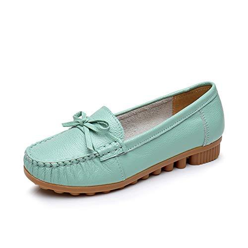 FLYRCX Zapatos de Maternidad Antideslizantes cómodos de los Zapatos Planos de la señora de los Zapatos Planos de la señora de los Zapatos Planos Ocasionales de la Suave de la Boca Baja de Cuero C