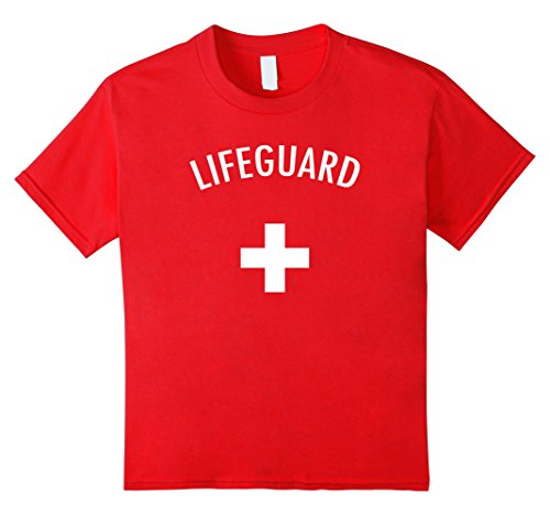 Kids Lifeguard Halloween Costume Tee-Shirt 8 Red