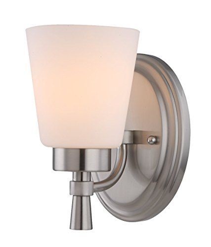 1 Light Bathroom Chrome Vanity Wall Sconce, Brushed Nickel Finished and White Frosted Seeded Opal Glass Shade, WISBEAM (Backplate Sconce)