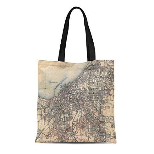 (Semtomn Cotton Line Canvas Tote Bag Cleveland Vintage Map of Ohio Old Historical Reusable Handbag Shoulder Grocery Shopping Bags)