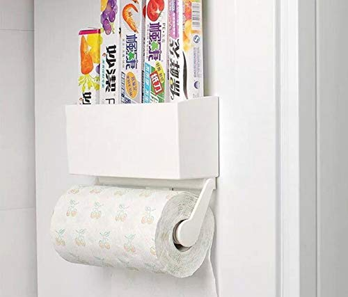Magnetic Paper Towel Holder for Refrigerator with Storage Box, ReachTop Multifunctional Kitchen Rack Organizer Microwave Oven Metal Surface, Paper Roll Holder with Strong 4.4 lbs Capacity, White