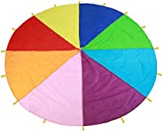 Kids Parachute Giant Multicolored Kid's Play Parachute Canopy with 16 Handles Indoor & Outdoor Games and E
