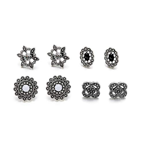 Kofun Earrings, Bohemian 5 Pairs Vintage Flower Shape Assorted Stud Earrings Set Inlaid Cz Stone Opal Flower (Stone Shape Earrings)