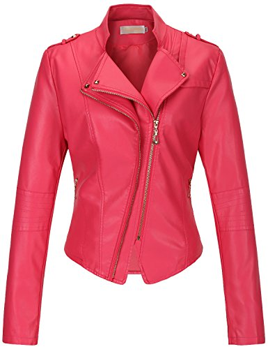 Tanming Women's Slim Zipper Color Faux Leather Jacket Red (Large, Rose)