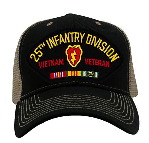 Patchtown 25th Infantry Division - Vietnam Veteran Hat/Ballcap (Black) Adjustable One Size Fits Most (Mesh-Back Black & Tan, Standard (No Flag)) Division Vietnam Veteran Cap